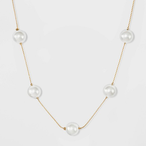 Short Pearl Station Necklace - A New Day™ Pearl/Gold - image 1 of 2