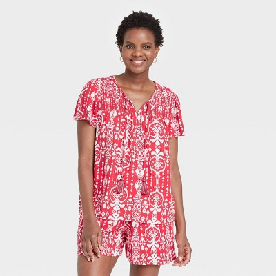 Women's Ikat Print Short Sleeve Smocked Top - Knox Rose™ Red