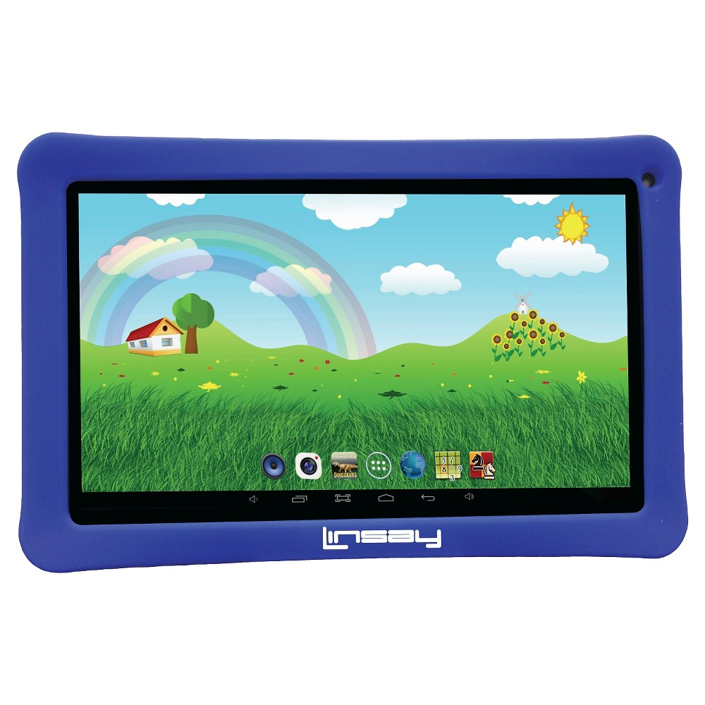 "LINSAY 10.1"" Kids Funny Tablet HD Quad Core 16GB Internal Memory Bundle with Blue Kids Defender Case, Black Blue"