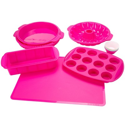 Hastings Home Silicone Bakeware Set - Pink, 18 Pieces