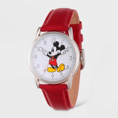 Women's Disney Mickey Mouse Silver Cardiff Leather Strap Watch - Red