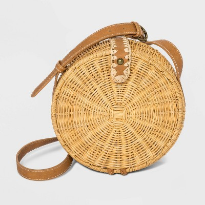 Straw Magnetic Closure Crossbody Bag - Universal Thread™ Natural