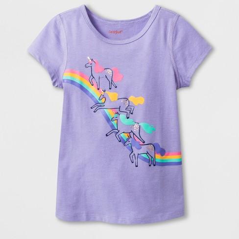 dedc22a2d2c Toddler Girls  Adaptive Short Sleeve Unicorn Rainbow Graphic T-Shirt - Cat    Jack™ Light Purple