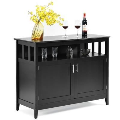 Costway Kitchen Sideboard Buffet Server Cupboard Storage Cabinet w/2 Doors Black