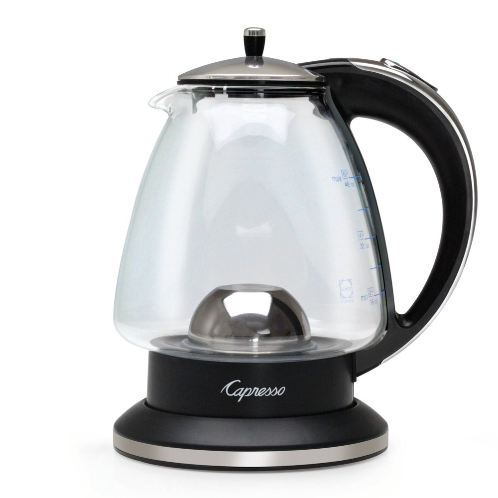 Image of Capresso H20 Glass Rapid-Boil Kettle, Silver Black