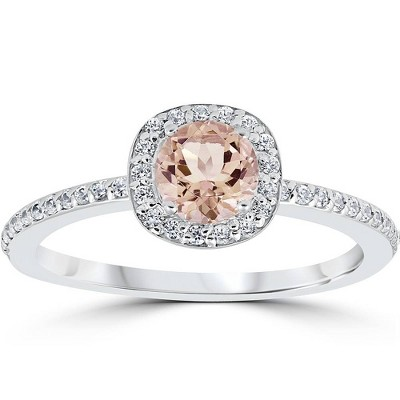 Pompeii3 7/8ct Round Morganite & Diamond Cushion Halo Engagement Ring 14K White Gold