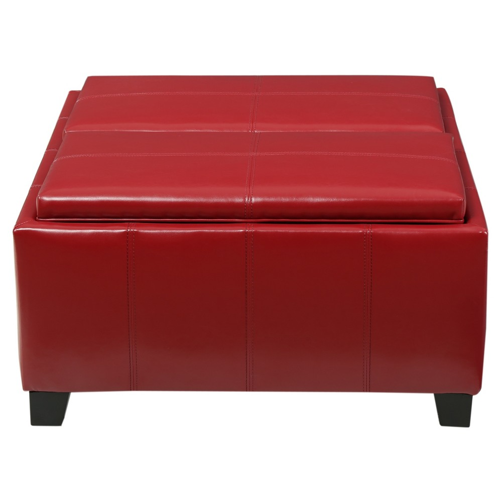 Mansfield Storage Ottoman - Red - Christopher Knight Home