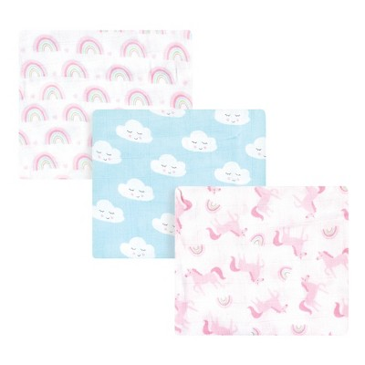 Luvable Friends Baby Girl Muslin Cotton Swaddle Blanket, Rainbow, One Size