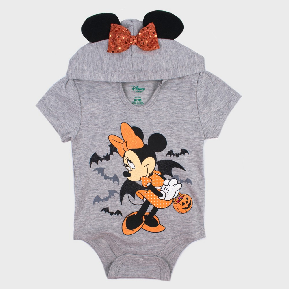 Baby Girls' Mickey Mouse & Friends Minnie Mouse Short Sleeve Hooded Bodysuit - Gray 3-6M