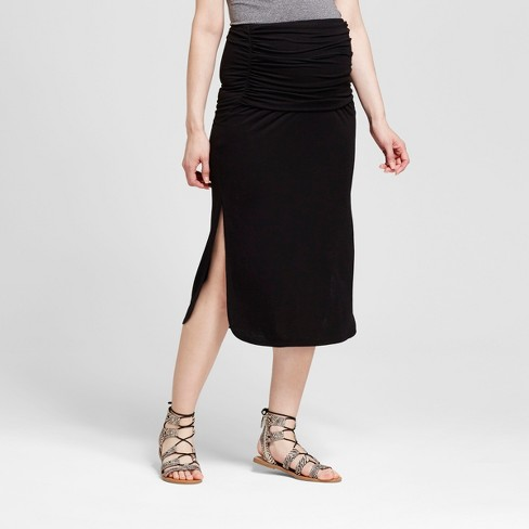 Maternity Side Shirred Mid Calf Skirt - Fynn And Rose® White - image 1 of 2