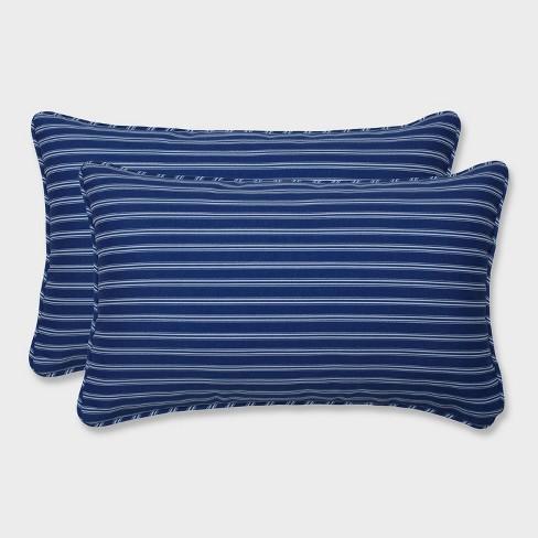 2pk Resort Stripe Rectangular Throw Pillows Blue - Pillow Perfect - image 1 of 2