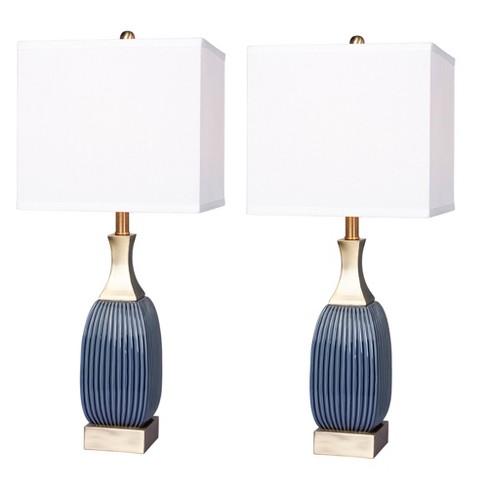 2pk Vertically Ribbed Ceramic Table Lamps Antique Blue Fangio Lighting