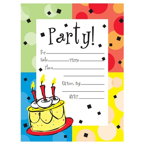 8ct Cake Celebration Invitations Target