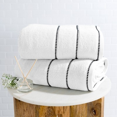 2pc Luxury Cotton Bath Towels Sets White - Yorkshire Home
