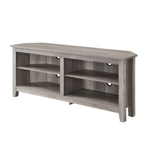 58 Simple Open Storage Shelf Corner Tv Stand Gray Wash Saracina Home Target