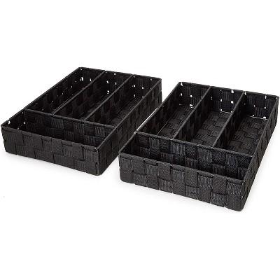 "2-Pack Black Drawer Dividers, Closet Drawer Organizer Storage Basket Box Bin 10""x13.5""x 2.8"""