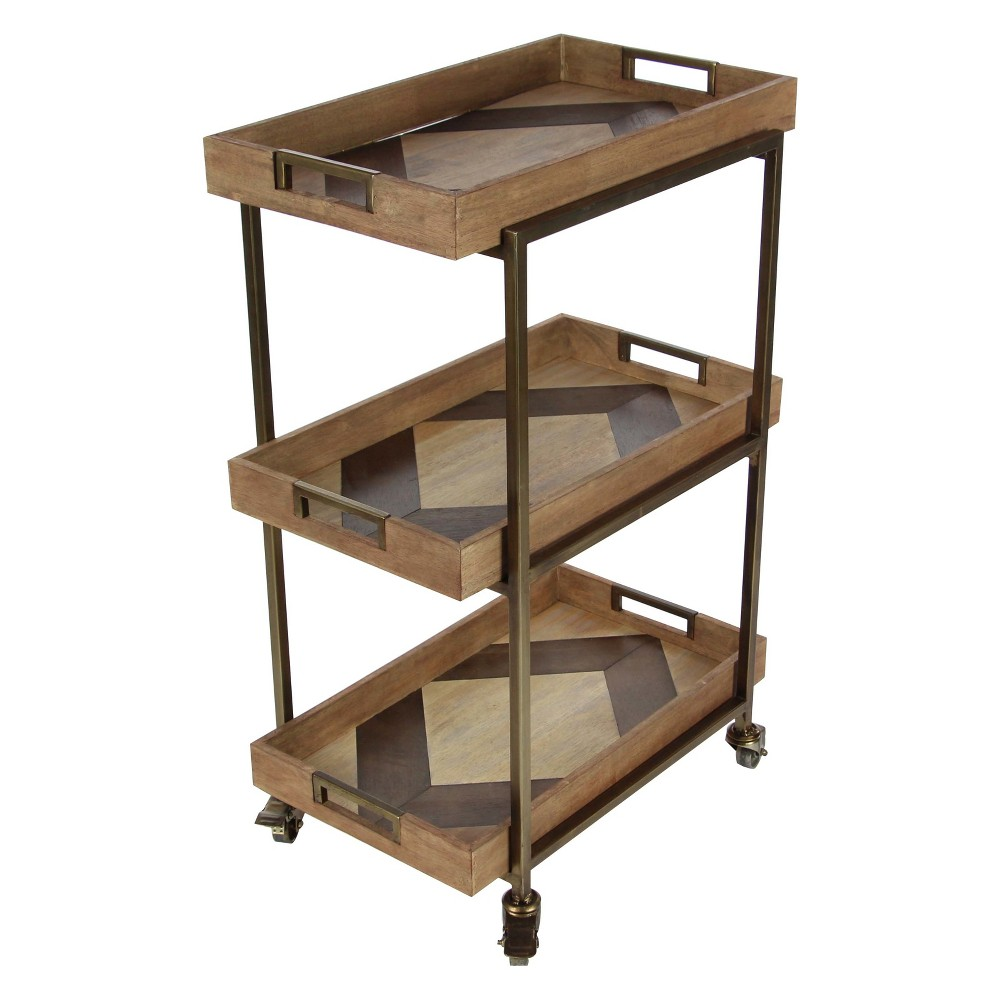 Metal and Wood 3 Tiered Cart Brown - Olivia & May
