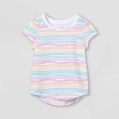 Toddler Girls' Rainbow Striped Short Sleeve T-Shirt - Cat & Jack™ White