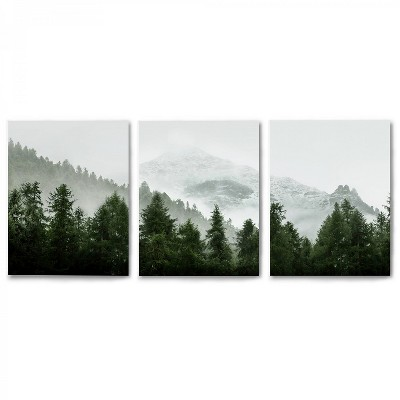 Americanflat Triptych Green Mountain Mural by Tanya Shumkina - Set of 3 Canvas Prints