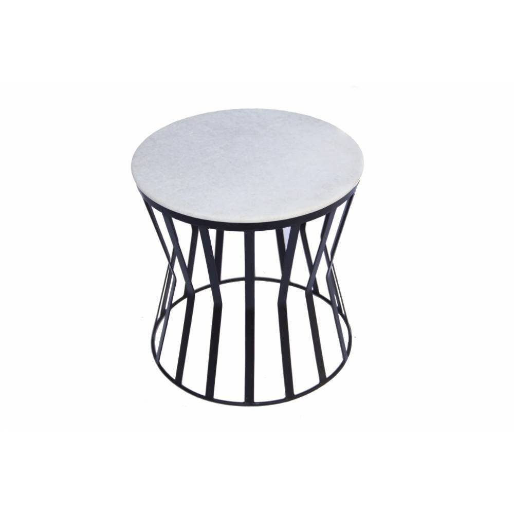 Image of Drum Shaped Round Marble Top End Table White - The Urban Port