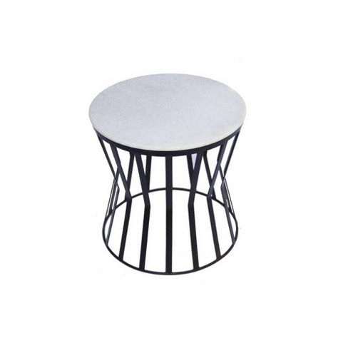 Drum Shaped Round Marble Top End Table White - The Urban Port - image 1 of 5