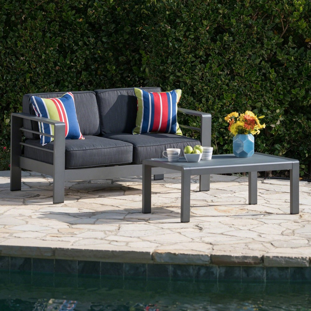Cape Coral 2pc Aluminum Patio Loveseat & Coffee Table Set - Dark Gray - Christopher Knight Home