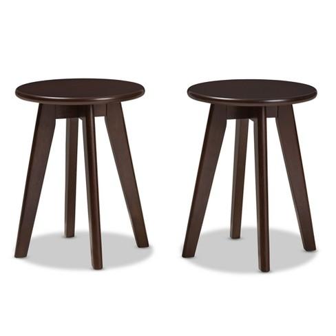 Swell Set Of 2 Zula Midcentury Modern Walnut Wood Stools Dark Brown Baxton Studio Squirreltailoven Fun Painted Chair Ideas Images Squirreltailovenorg