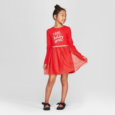 77e2c5314 Girls  Holiday Sparkle Dress - Cat   Jack™ Red S   Target