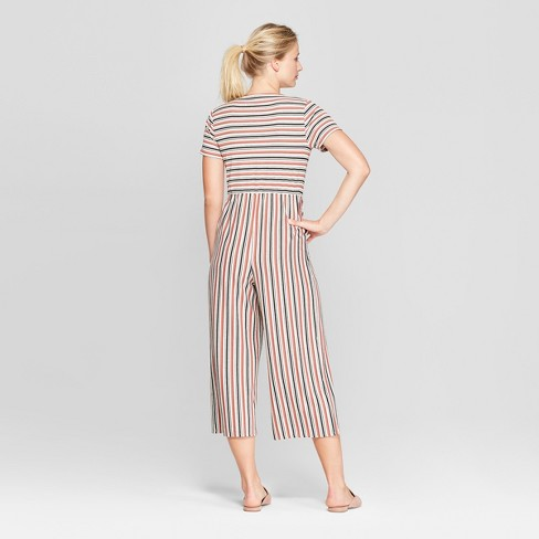 66ab61dcfb6 Women s Striped Short Sleeve Tie Front Knit Jumpsuit - Xhilaration™   Target