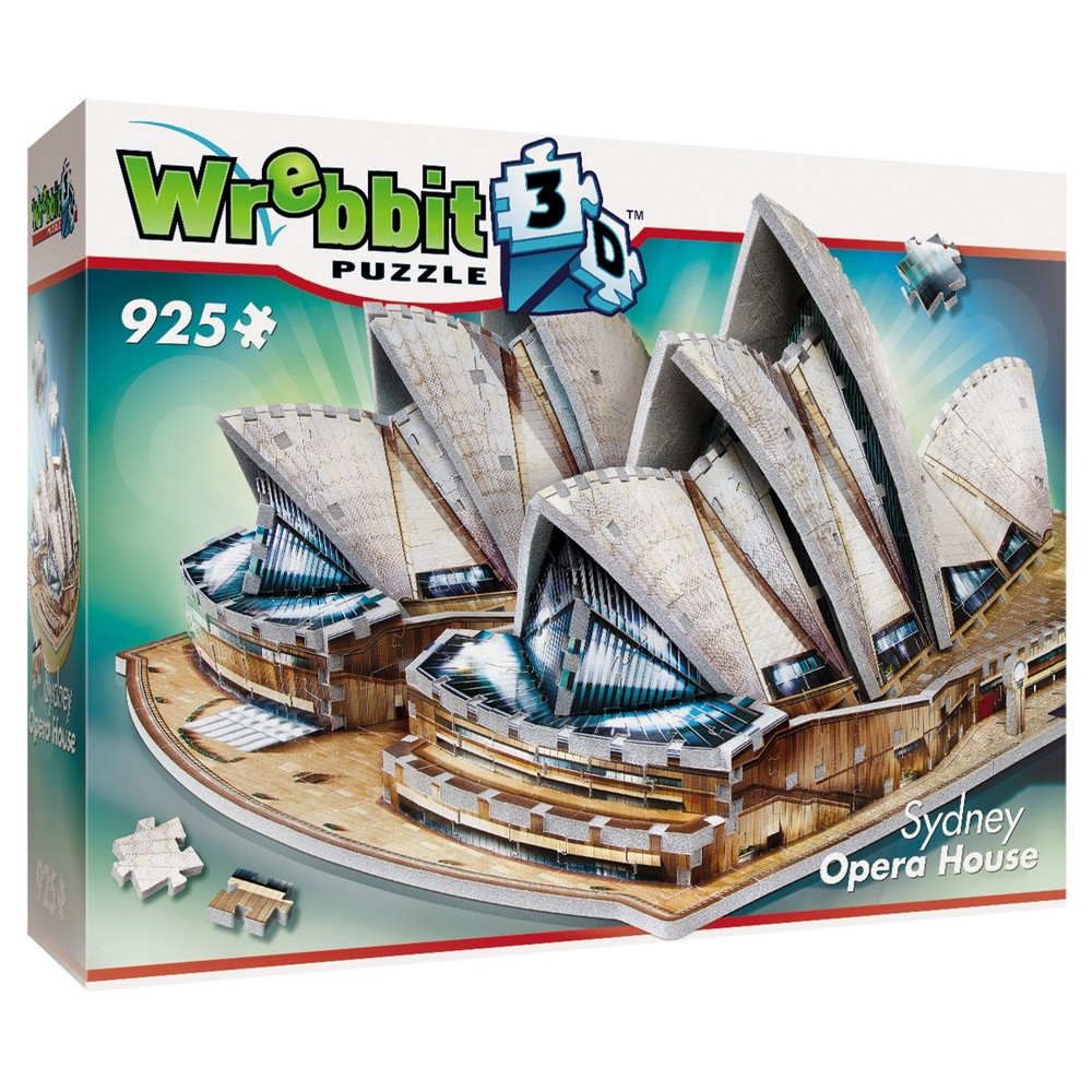 Wrebbit 2006 Sydney Opera House 3D Puzzle 925pc Famous architectural work of the 20th century, Sydney Opera House, a renown place of performing arts in Australia, in a 3D puzzle format will charm the fans with its unique and original design, veils and shell forms. The full color Foam backed puzzle has 925 pieces. Age - 12 and up. Approximate finished dimensions - 22.24 x 17.22 x 8.76 inches. Warning: Choking Hazard - Small parts. Not for children under 3 yrs. Gender: Unisex.