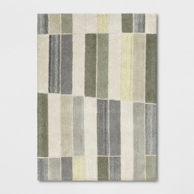 5'X7' Blocks Striped Tufted Area Rug Green/Gray - Project 62™
