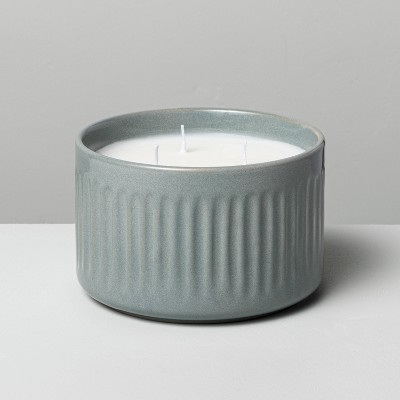 11oz Medium 3-Wick Blue Sagewood Fluted Ceramic Candle - Hearth & Hand™ with Magnolia