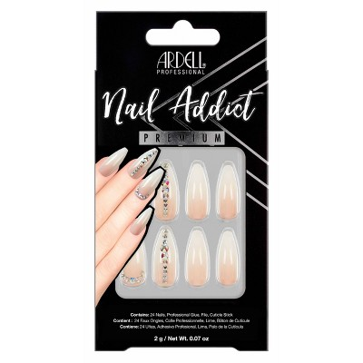 Ardell Nail Addict False Nails - Nude Light Crystals - 24ct