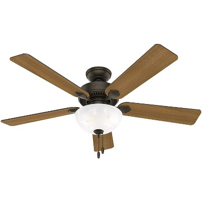 Hunter Fan Company 50901 Swanson 52 Inch Multi Speed Quiet Indoor Home Ceiling Fan with Energy Efficient LED Light and Pull Chain, Bronze
