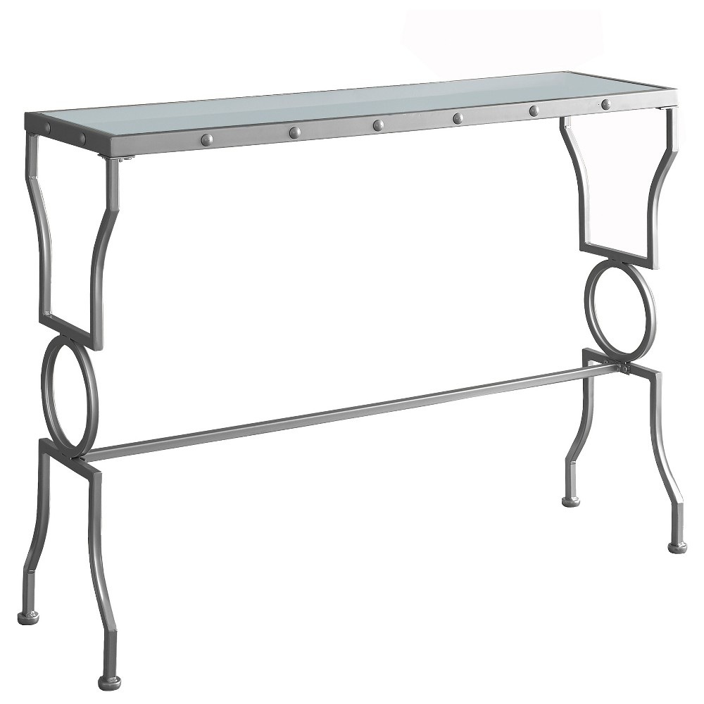 Console Table Metal With Tempered Glass Clear - EveryRoom, Light Silver