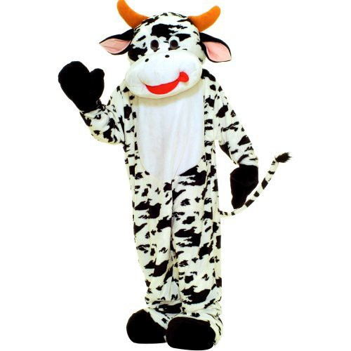 Halloween Adult Plush Cow Economy Mascot Costume, Adult Unisex, Black/White