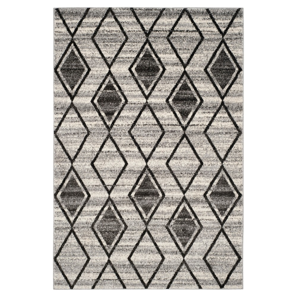 Gray/Black Abstract Loomed Area Rug - (5'1