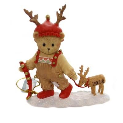 "Cherished Teddies 4.25"" Ryan 2018 Annual Figurine Reindeer  -  Decorative Figurines"