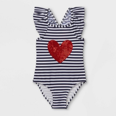 Toddler Girls' Striped Heart Print One Piece Swimsuit - Cat & Jack™ Navy