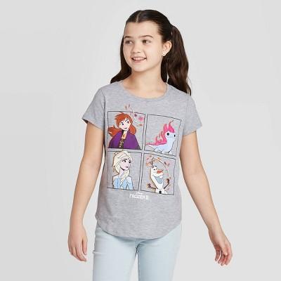 Girls' Short Sleeve Frozen Friends Graphic T-Shirt - Gray