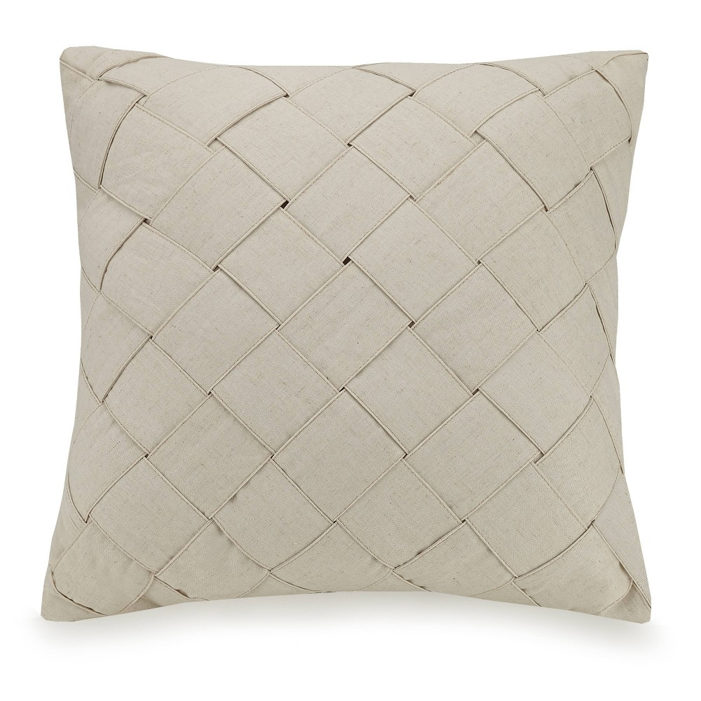 "Image of ""Ayesha Curry 20""""X20"""" Modern Ombre Basketweave Throw Pillow Tan"""