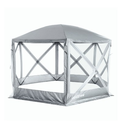 SlumberTrek 3033911VMI Flexion Lightweight Outdoor 6 Sided Pop Up Gazebo Canopy Shelter with Mesh Screen Netting and Carrying Bag, Silver