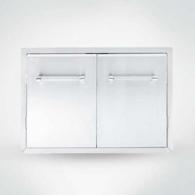 """KitchenAid 33"""" Outdoor Kitchen Built-In Grill Cabinet Double Access Door - Silver"""