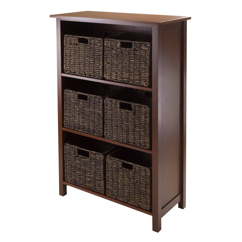 7pc Granville Set Storage Shelf with Baskets Walnut (Brown) - Winsome