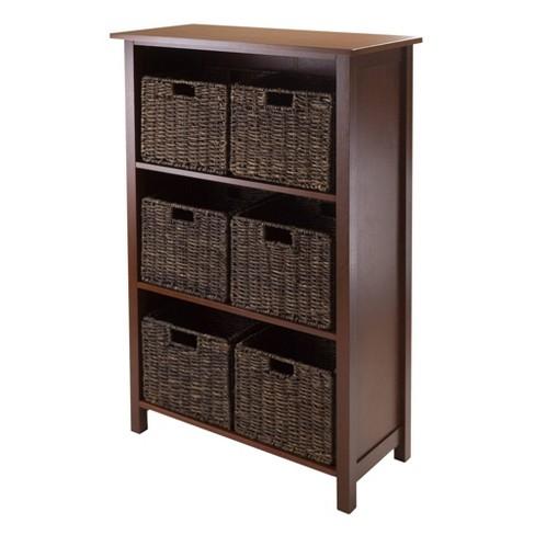 7pc Granville Set Storage Shelf with Baskets Walnut - Winsome - image 1 of 5