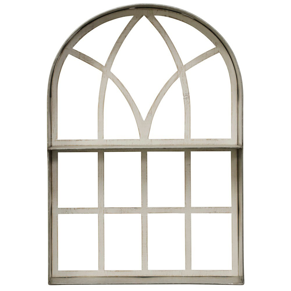 34.28 Arched Wood Framed Decorative Wall Art White - StyleCraft