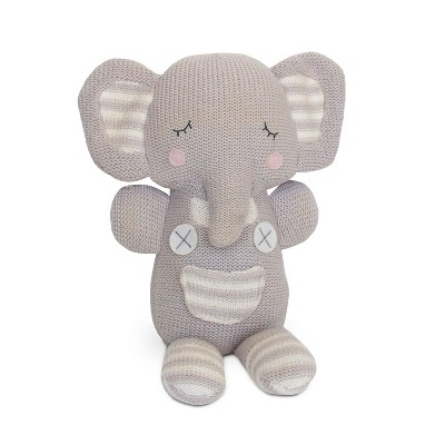Living Textiles Baby Gray Theodore Elephant Plush Rattles And Teethers