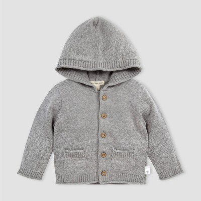 Burt's Bees Baby® Baby Girls' Organic Cotton Sweater Knit Hooded Cardigan - Gray 3-6M