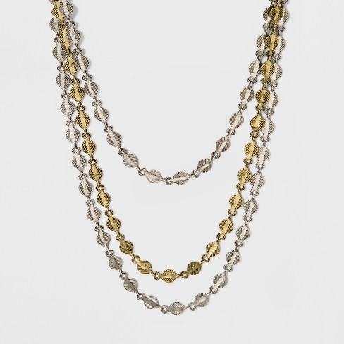 "3 Row Choker Necklace (12"") - Universal Thread™ Gold/Silver - image 1 of 3"