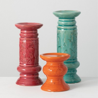 """Sullivans Set of 3 Pillar Candle Holder 11.25""""H, 9.5""""H & 5.25""""H Red, Orange & Blue"""